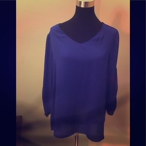 Royal blue top with black striped sleeves